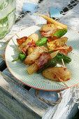 Cajun potato skewers with sweetcorn, jalapenos and bacon