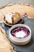 Purple shakhuka (beetroot with egg and horseradish)