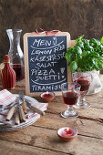 Menu board on a rustic wooden table