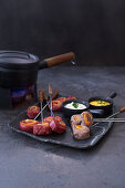 Fondue chinoise with beeef fillet