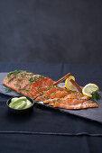 Marinated salmon with wasabi cream