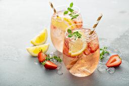 Strawberry lemon sparkling rose sangria cocktail