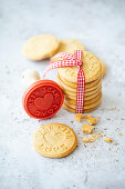 Vegan biscuits stamped with Made With Love