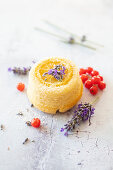 Vegan lemon cake with lavender