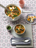 Chickpea soup with spinach and hard-boiled eggs