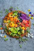A colourful rainbow salad