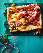 Lemon thyme, mascarpone, prociutto and tomato tart