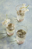 Glasses of elderflower syrup