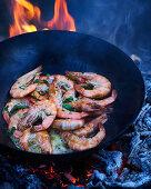 BBQ King prawns in wok