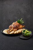 Duck with chestnut and apple stuffing and napkin dumplings