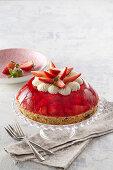 Dome-shaped strawberry cake
