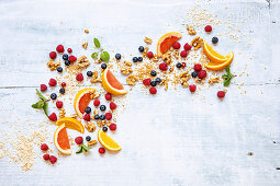 Fruit, herbs, nuts and seeds for muesli