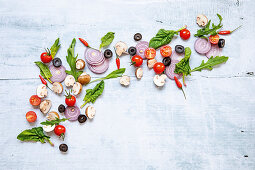 Ingredients for healthy salads