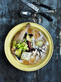 Chinese duck broth with rice noodles