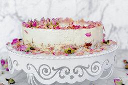 Yoghurt cake with edible rose petals