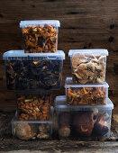 Freshly picked wild mushrooms in storage boxes