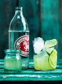 Soda with lime and ice cubes