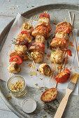 Baguette and artichoke skewers