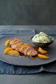 Pink roasted duck breast a l'orange with Waldorf salad