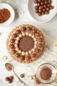 Overhead view of a chocolate cake decorated with piped buttercream and chocolate malt balls