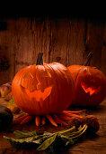 A Halloween arrangement with Jack-O-Lanterns