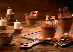 Mocha puddings with chocolate biscuit crumbs