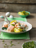 A festive fish ragout with cress butter potatoes