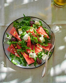 Rocket salad with watermelon and feta cheese