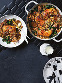 Modern cassoulet with chicken, pork belly, miso and Puy lentils