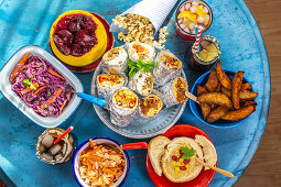 Various sweet and savory street food dishes and drinks