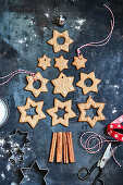 Star-shaped gingerbread placed in the shape of a Christmas tree