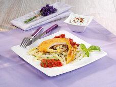 Vegetarian kohlrabi cordon bleu