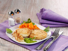 Vegetarian celeriac escalope in an oat and sesame seed coating