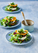 Sweet potato and beetroot stacks with buffalo mozzarella and rocket