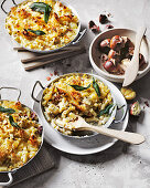 Mac and cheese with bacon, chestnut and sage with sourdough crumb