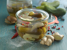 Gherkins with ginger in a preserving jar