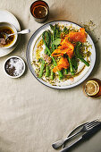 Asparagus and pickled carrot salad with ricotta and pistachio