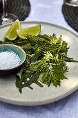 Herbal salad with salt and limes