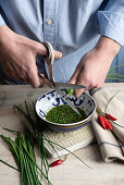 Cut the chives with the scissors
