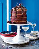 Red velvet cake with roasted dark chocolate cream