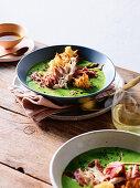 Pea, ham and mint soup