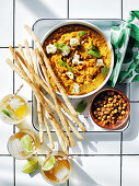 Roasted carrot hummus with feta and mint
