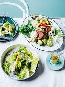 Potato pancetta salad with avocado cream, Iceberg and celery salad with lemon & anchovy dressing
