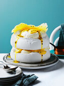 Passionfruit and pineapple pavlova, passionfruit curd
