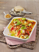 Caesar salad gratin with chicken