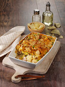 Potato and tuna bake with a crispy crust