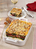 Winter lasagne with spinach, beetroot, ricotta and walnuts