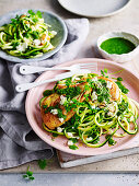 Pan-fried chicken with zucchini and salsa verde