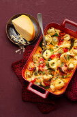Tortellini and cheese bake with Hokkaido pumpkin