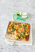 Vegetable gratin 'Primavera' with rice and spring vegetables